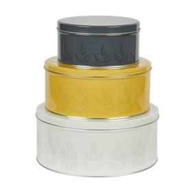 Dunelm Set of 3 Leaf Print Cake Tins