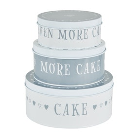 Dunelm Set of 3 Life Is Cake Tins
