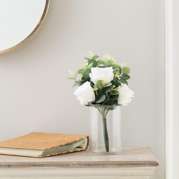Artificial Rose and Eucalyptus White Bundle 38cm White