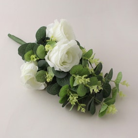 Artificial Rose and Eucalyptus White Bundle 38cm