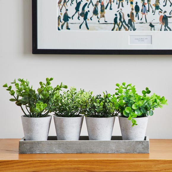Artificial Herbs in Wooden Tray 19cm Green