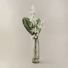 Artificial Cardamine White in Smoked Glass Vase 46cm