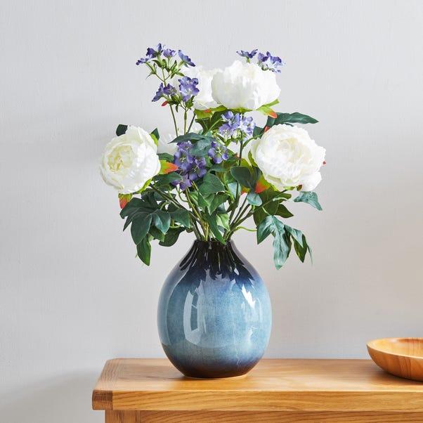 Artificial Iris and Peony Multi in Blue Vase 52cm MultiColoured