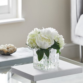 Artificial Hydrangea White in Glass Cube Vase 23cm