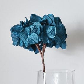 Artificial Diamonmd Velvet Hydrangea Teal 77cm