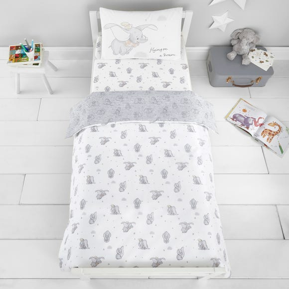 Dumbo 100% Cotton Cot Bed Duvet and Pillowcase Set Grey
