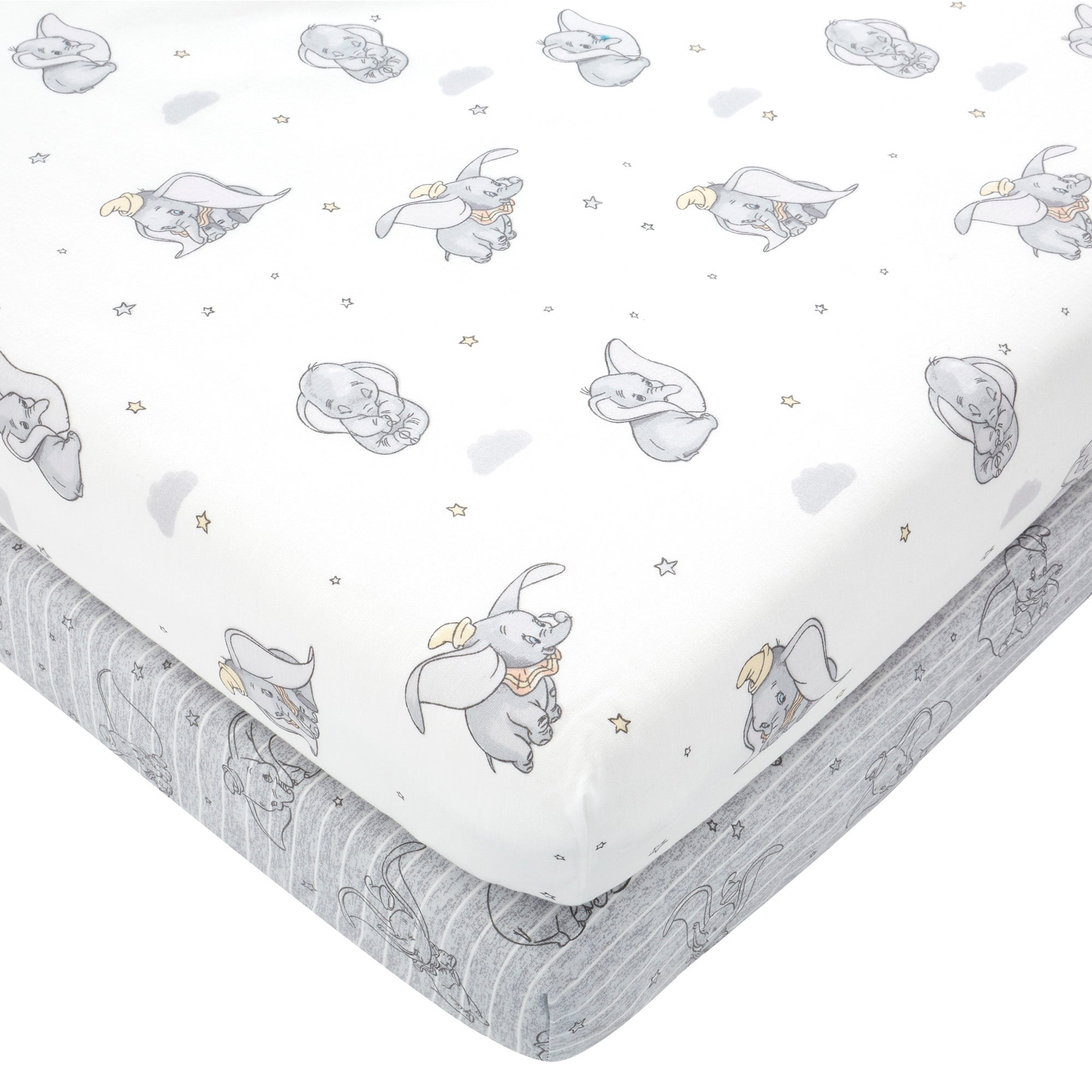 Photo of Dumbo 100 cotton pack of 2 fitted sheets grey