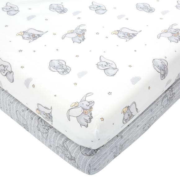 Dumbo 100% Cotton Pack of 2 Fitted Sheets  undefined