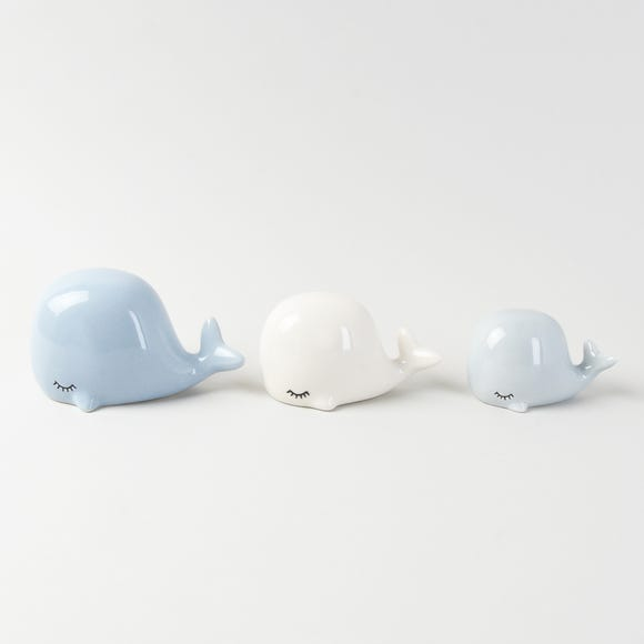 Set of 3 Ceramic White and Blue Whales Blue