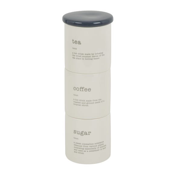 Kitchen Rules Set of 3 Stacking Canisters Cream