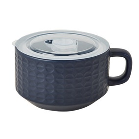 Navy Embossed Ceramic Soup Mug