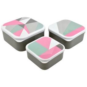 Set of 3 Modern Geometric Snack Boxes