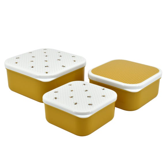 Set of 3 Bee Snack Boxes Yellow