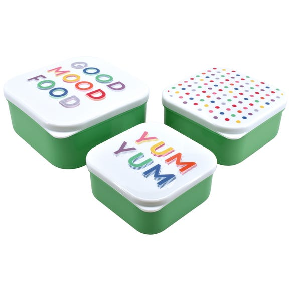 Set of 3 Rainbow Snack Boxes MultiColoured