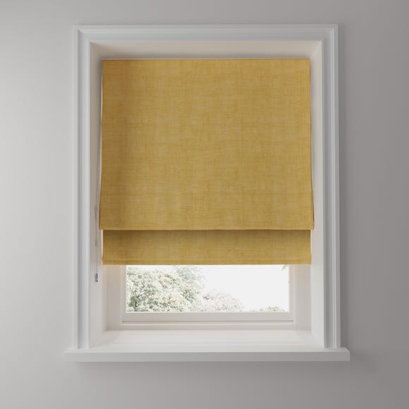 Linen Look Ochre Blackout Roman Blind  undefined