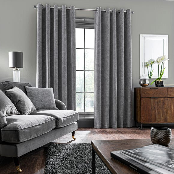 Chenille Geo Grey Eyelet Curtains  undefined