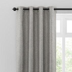 Global Herringbone Grey Eyelet Curtains