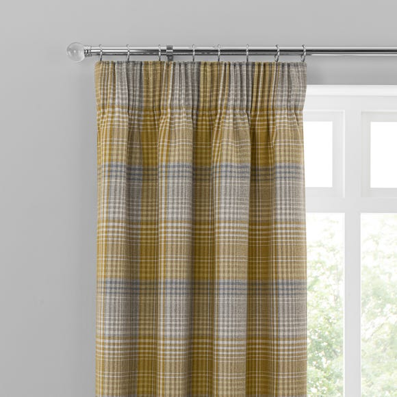 Logan Ochre Check Pencil Pleat Curtains  undefined
