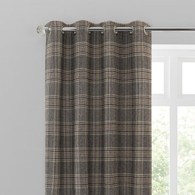 Yorkshire Check Biscuit Eyelet Curtains