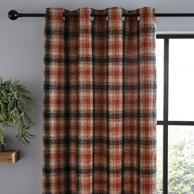 Lomond Check Butterscotch Eyelet Curtains