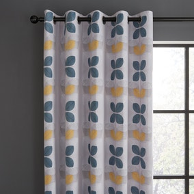 Linear Retro Floral Teal Eyelet Curtains
