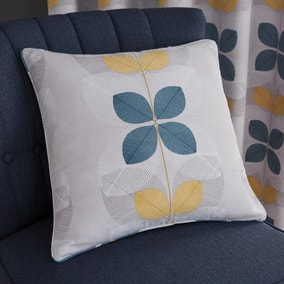 Linear Retro Floral Teal Cushion
