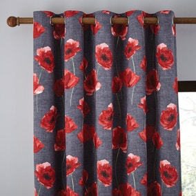Poppy Trail Red Eyelet Curtains