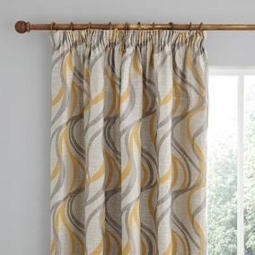 Mirage Ochre Pencil Pleat Curtains