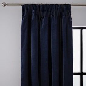 Peyton Indigo Pencil Pleat Curtains