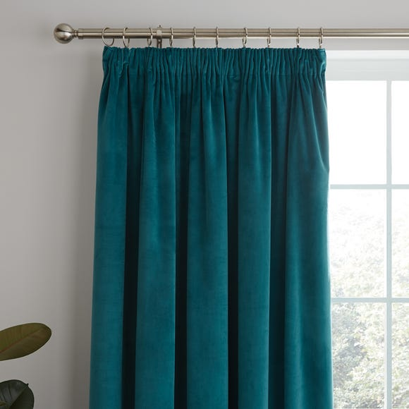 Ashford Teal Pencil Pleat Curtains Teal (Blue) undefined