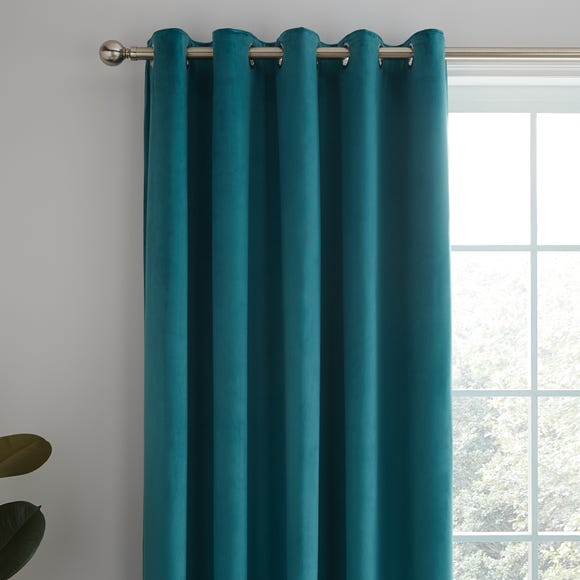 Ashford Teal Velour Eyelet Curtains  undefined