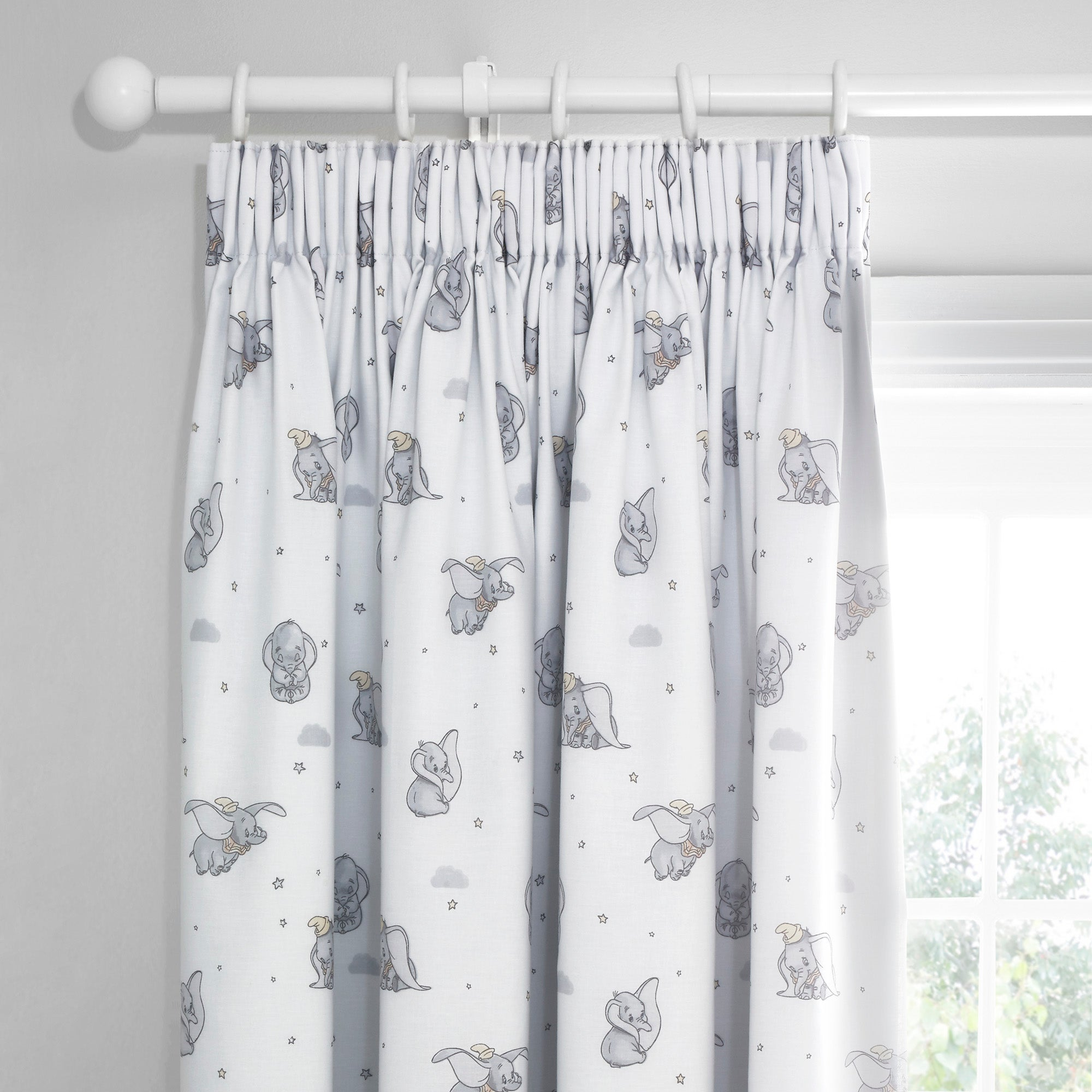Photo of Dumbo pencil pleat blackout curtains grey- pink and white