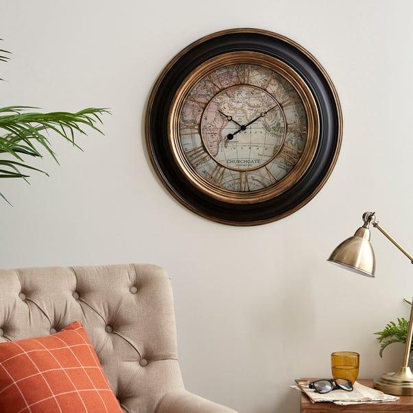 Antique Map Clock 55cm Black