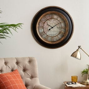 Antique Map Clock 55cm