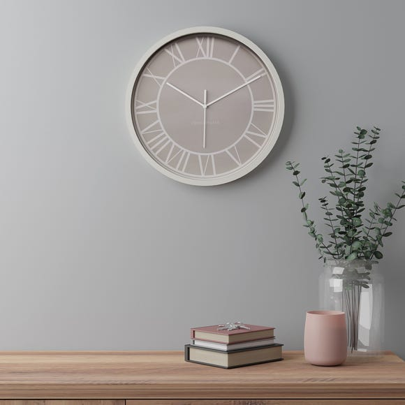 Contemporary 38.5cm Wall Clock Taupe Taupe