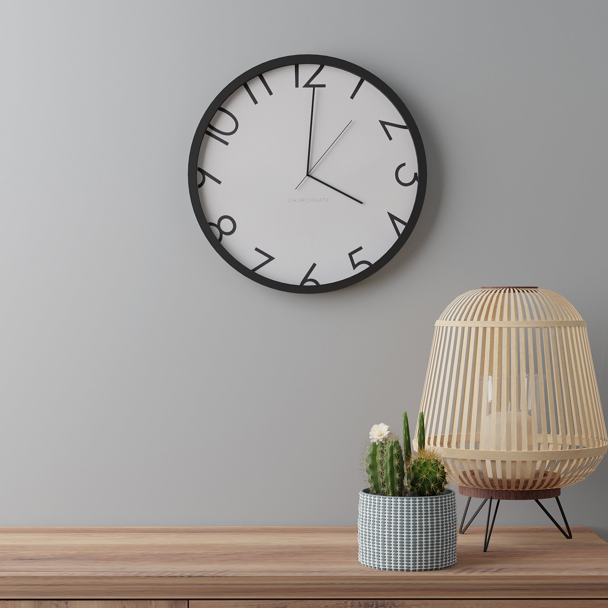 Click to view product details and reviews for Contemporary Numbers 385cm Wall Clock Black Black.