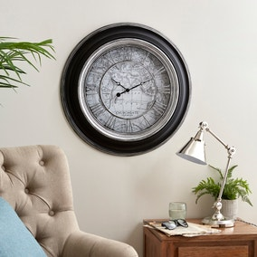 Antique Map 55cm Wall Clock Silver