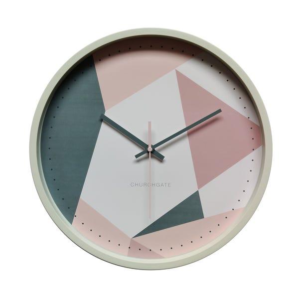 Pastel Geo Pink Clock 36cm Cream