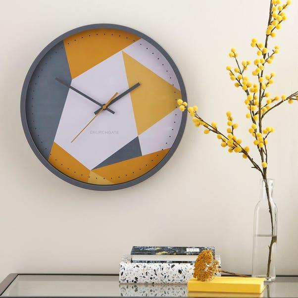 Pastel Geo Wall Clock Grey and Ochre 36cm Grey