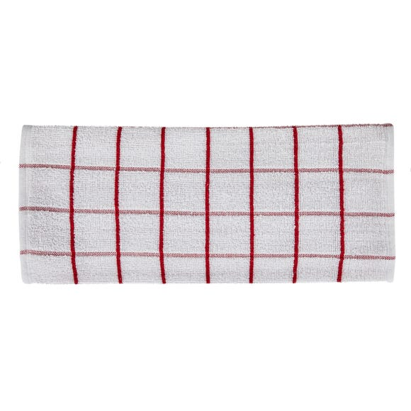 Pack of 5 Red Terry Tea Towels Red