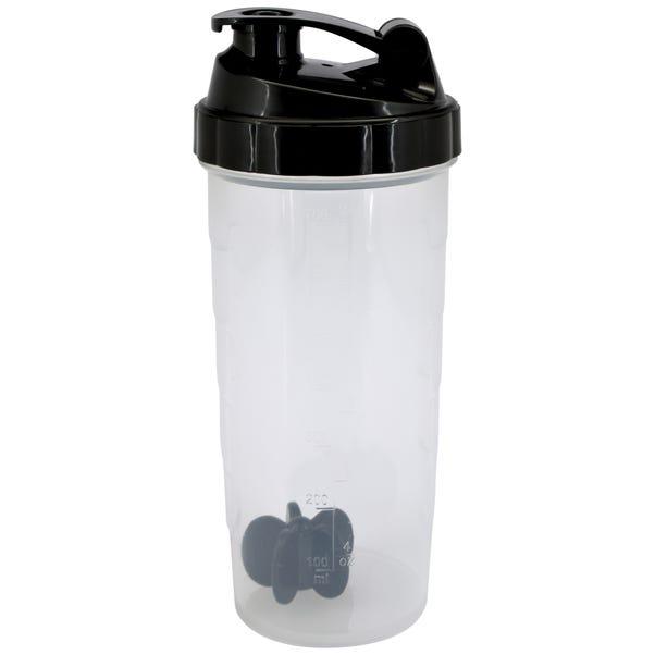 Black 800ml Drinks Bottle with Shaker Clear