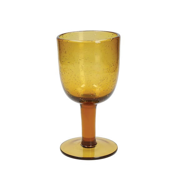 Amber Bubble Wine Glass Amber