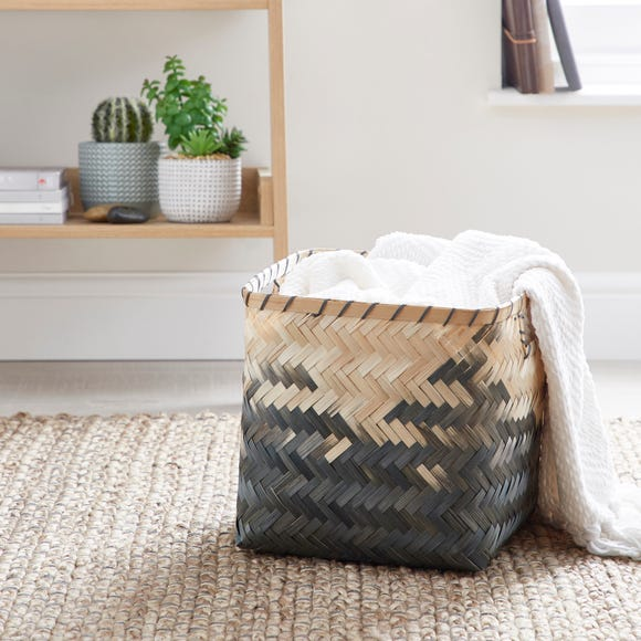 Black Bamboo Ombre Basket Black