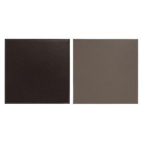 Set of 4 Dual Colour Faux Leather Placemats