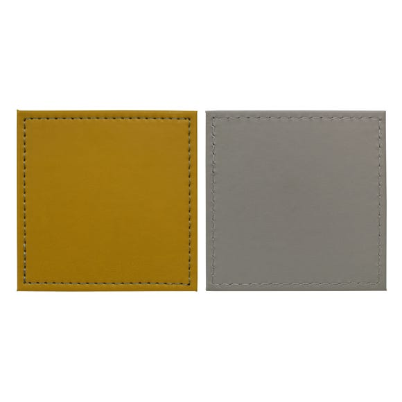Set of 4 Ochre and Grey Faux Leather Coasters MultiColoured