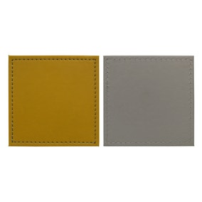 Set of 4 Ochre and Grey Faux Leather Coasters