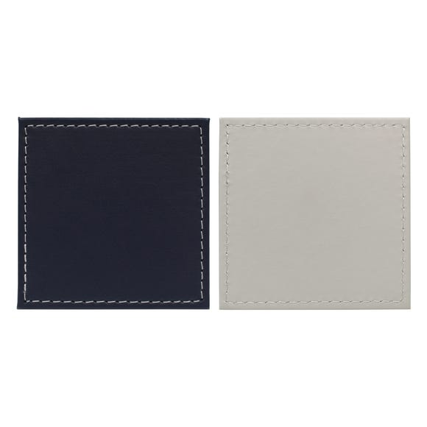 Set of 4 Dual Colour Faux Leather Coasters Navy (Blue)