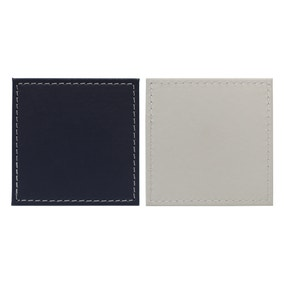 Set of 4 Dual Colour Faux Leather Coasters