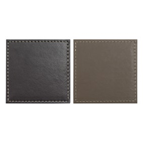Set of 4 Brown and Taupe Faux Leather Coasters