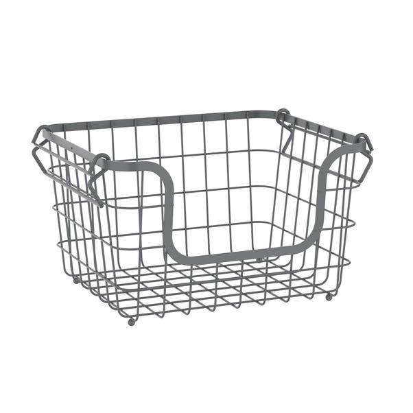 Grey Stackable Wire Basket Grey